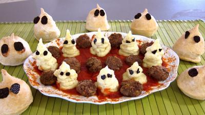 Halloween : Plat de fantômes de purée