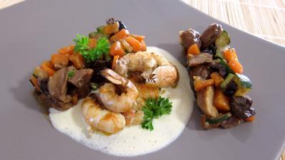 sauce vinaigrette : Assiette de langoustines et sa sauce au floc de Gascogne