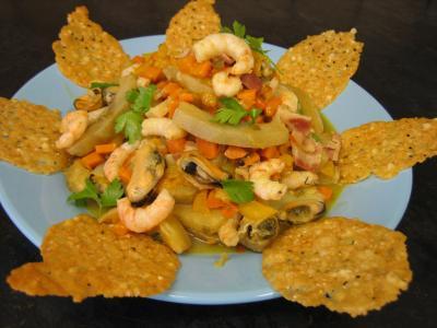 Image : Crevettes et moules aux artichauts