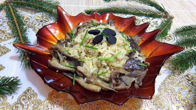 Image : Saladier de pleurotes en risotto à la truffe