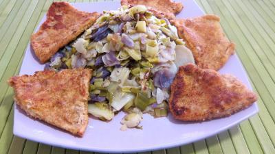 plat complet : Assiette de vitelottes et légumes aux filets de dinde panés