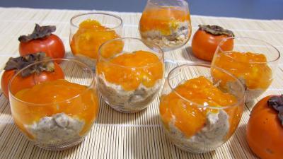 sirop d'érable : Verrines de kakis en trifle aux amandes