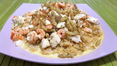 risotto : Assiette de crones et églefin en risotto