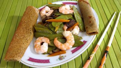 Image : recette Haricots plats et gambas à la chinoise
