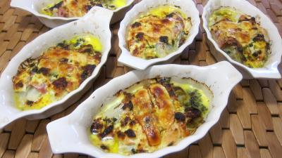 Cuisson au grill : Cassolettes de roulés de saumon et jambon aux endives