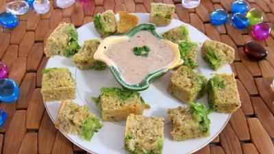 Recette Assiette de cubes de cake aux brocolis et ricotta