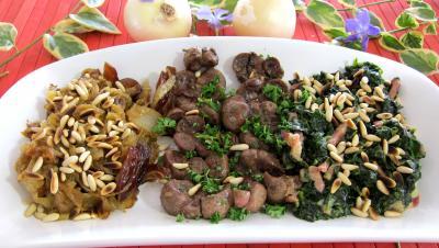 plat complet : Plat de compotée d'oignons et d'épinards et son rognon de veau