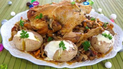 Image : Plat de faisan au chou et aux carottes