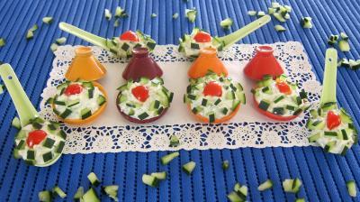 Recette Cuillères et tagines de concombre en amuse-bouche