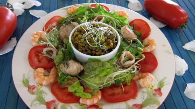 radis noir : Assiette de salade tiède de poisson