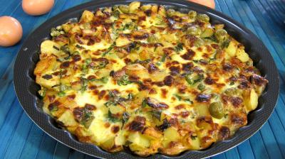 Recette Assiette de frittata aux pommes de terre et petits pois