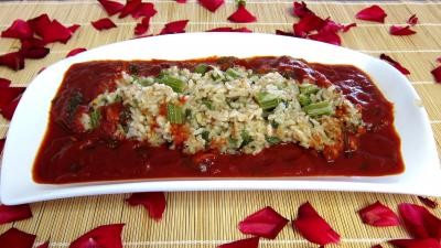 Image : Plat de risotto de cardon et sa sauce tomate