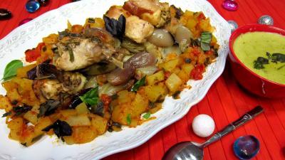 Crème au basilic et mascarpone : Plat de lapin rôti aux échalotes