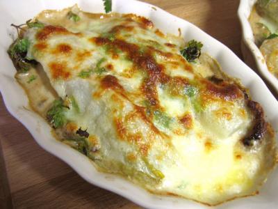 Image : Cassolette d'escalopes de veau aux endives et mozzarella