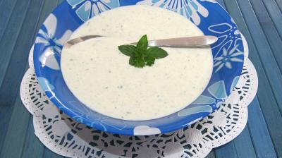 Image : Coupelle de sauce au yaourt au chèvre