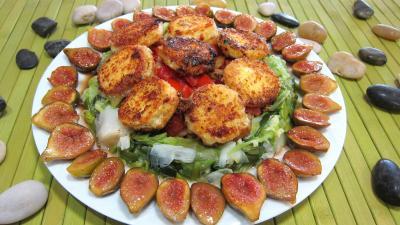 Image : Assiette de crottins de chèvre en salade