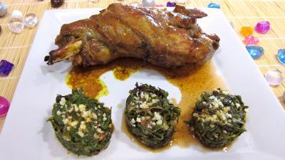 Assiette d'épaule d'agneau au miel et sa garniture de bettes