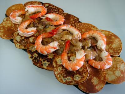 Image : recette Gambas aux endives et ses crêpes