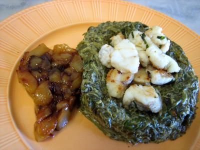 citronnelle : Lotte aux épinards et aux poires confites