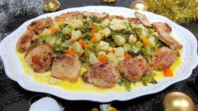 Recette Assiette de filet mignon de porc aux topinambours