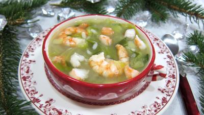 soupe : Bol de soupe de riz aux gambas et ognasses