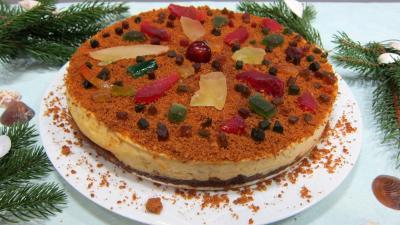 gâteau fruits : Gâteau fromage blanc aux spéculoos et fruits confits