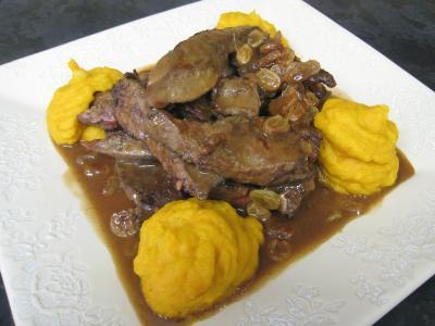 Foie de veau aux raisins secs et au potimarron supertoinette la cuisine facile - Recette foie de veau poele ...