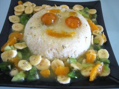 Recette Gâteau de riz farci et sa salade de fruits