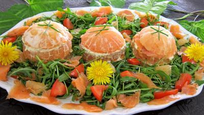 Millefeuille de pamplemousse au saumon fum for Hors d oeuvre avec saumon fume