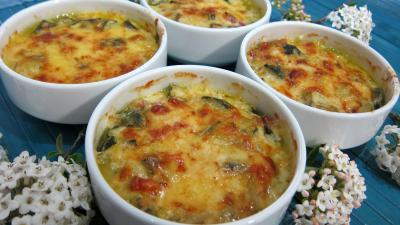 beurre allégé salé : Cassolettes de courgettes au gratin