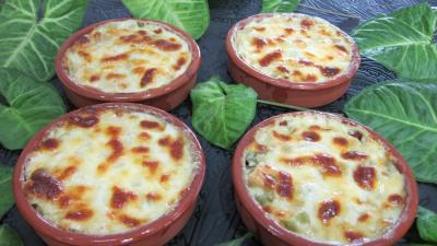saint agur : Cassolettes de poireaux au saint-Agur