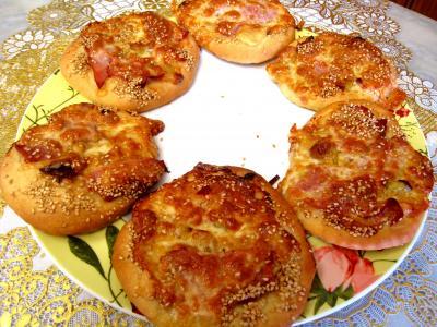 pizza au jambon : Minis pizzas au poireau en amuse-bouche