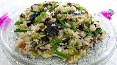 Céréales : Assiette de risotto aux champignons noirs et mascarpone