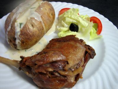 confit : Assiette de confit de canard sauce gorgonzola