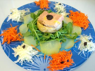 truffe : Foie gras en salade chayotte et truffe
