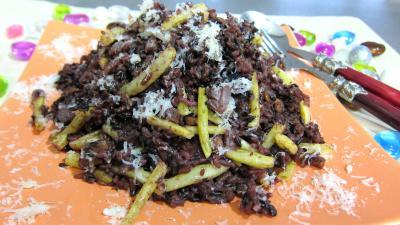 floc de gascogne : Assiette de risotto aux haricots verts et mendiants