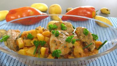 Filet de porc : Saladier de filet mignon aux pommes de terre