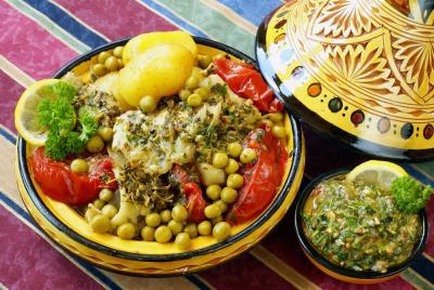 Image : chermoula (à la) - Plat de poisson marocain au tajine sauce Chermoula