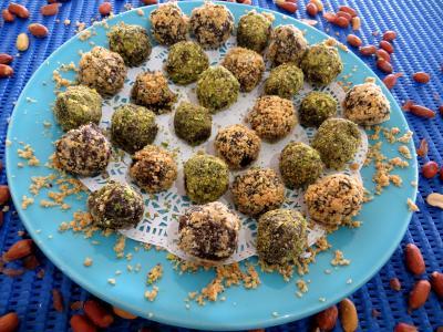 Recette Assiette de truffes pistaches et cacahuètes