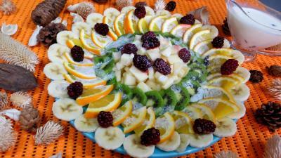 eau de fleur d'oranger : assiette de kiwis