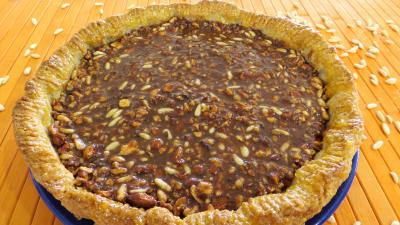 Recettes vgtariennes : Tarte au caramel aux mendiants