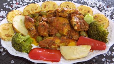 Recette Assiette de poulet sauté et ses toasts pois chiches