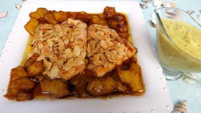 Recette Assiette de filets de truite aux amandes et ananas