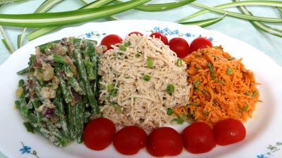 haricots beurre : Assiette de céleri rémoulade et crudités