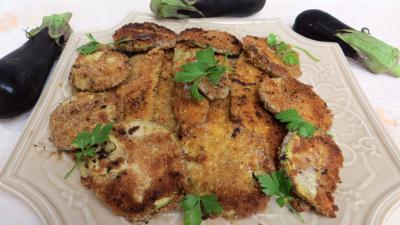 aubergine : Plat d'aubertines panées aux amandes