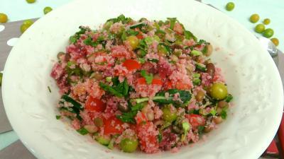 Image : Saladier de salade de couscous aux physalis