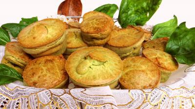 Amuse-bouche : Panier de muffins aux épinards