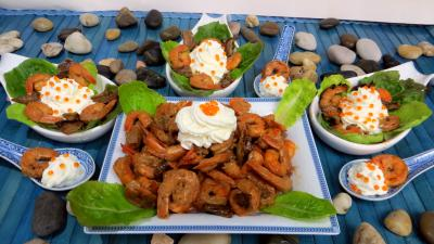 Amuse-bouche : Cuillères de crevettes à la Chantilly