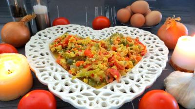 plat complet : Assiette de piperade Basque