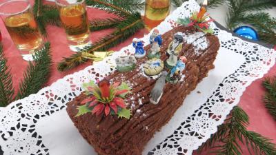 Cuisson au bain-marie : Bûche de Noël aux marrons